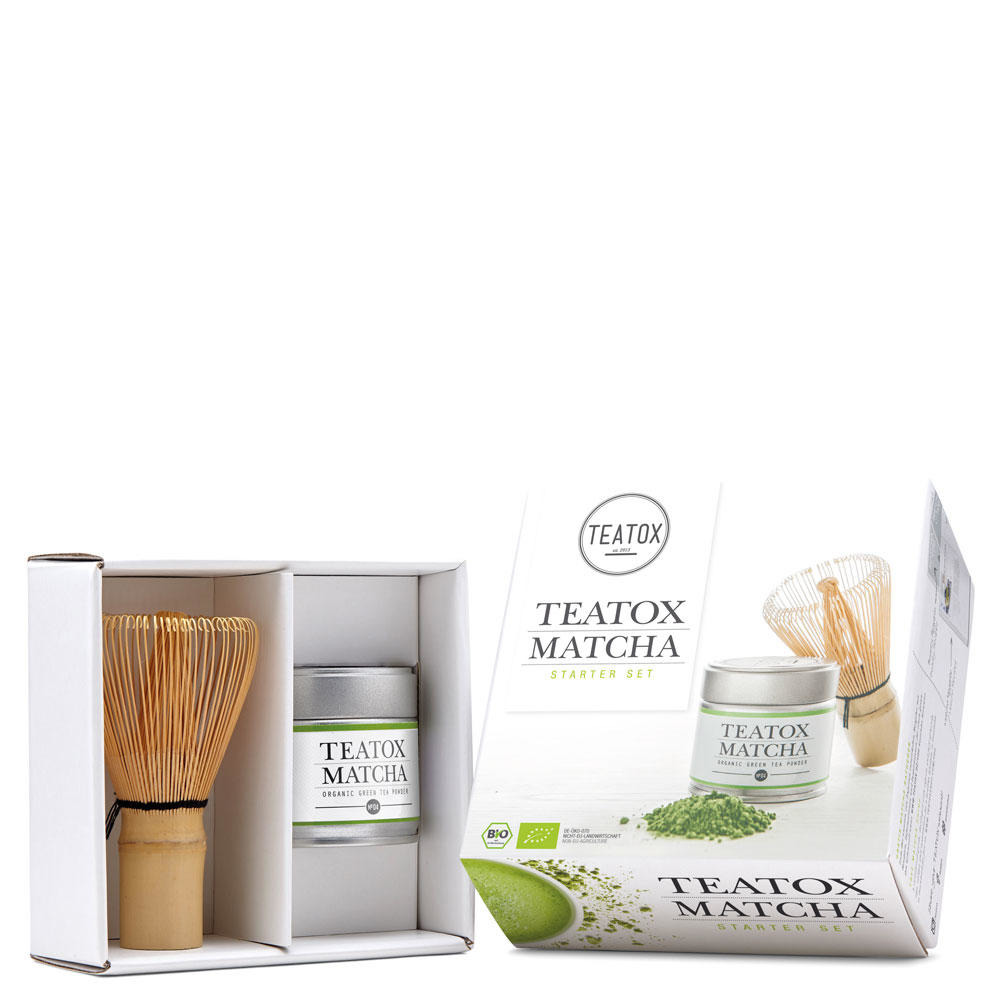 teatox matcha starter set matcha set aus bio teatox matcha und bambusbesen. Black Bedroom Furniture Sets. Home Design Ideas