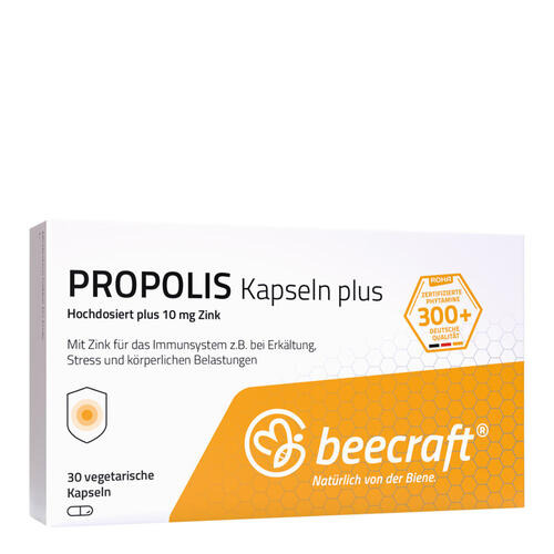 Propolis beecraft PROPOLIS Kapseln 30 Hochdosiert mit Zink für das Immunsystem