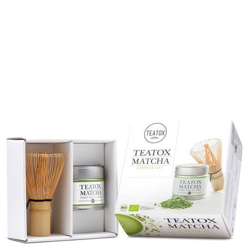 Tees TEATOX Matcha Starter Set Matcha Set aus Bio Teatox Matcha und Bambusbesen