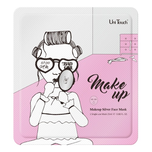 Bad Girl UniTouch Make-up Silver Face Mask Gladmakend zilver gezichtsmasker ter kalmering