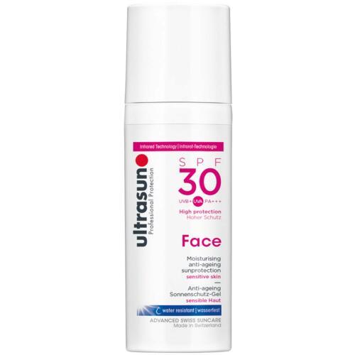 Face Ultrasun Anti-Age SPF30 Zonnebrandcrème voor de gevoelige huid.