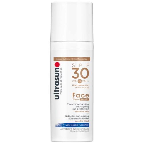 Face Ultrasun Anti-Age Tinted Honey SPF30 Zonnebrandcrème voor de gevoelige huid.