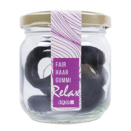 Degree: FairHair Haargummis schwarz mit Lavendelduft - Vegane Haargummis in schwarz aus Bio-Baumwolle