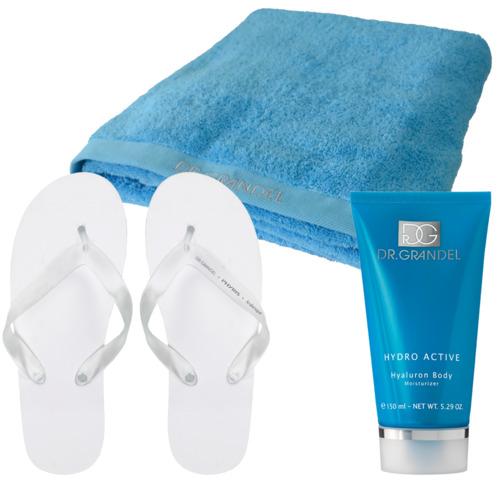Hydro Active DR. GRANDEL Sauna-Wellness-Set Körperpflege, Badetuch und Flip Flops