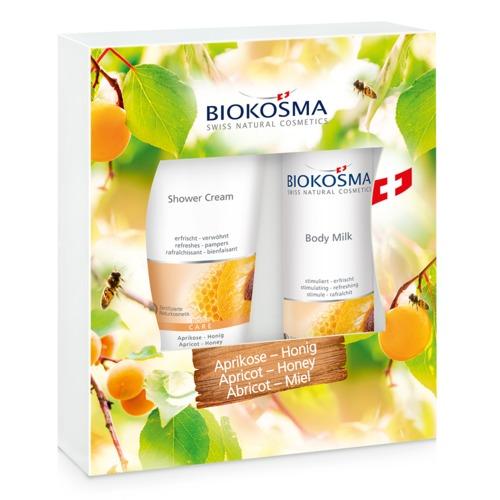 Douch & Body Biokosma Geschenkbox Aprikose-Honig Verwöhnende Shower Cream und Body Milk