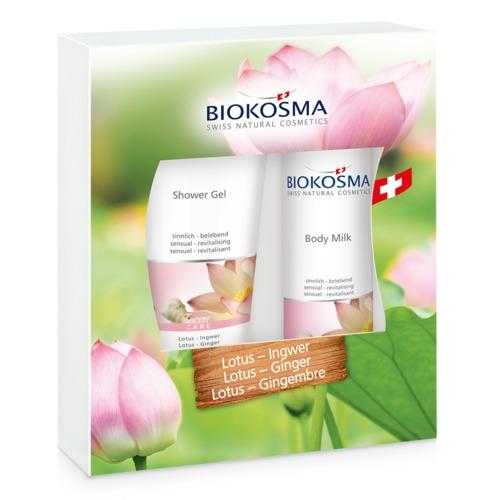 Douch & Body Biokosma Geschenkbox Lotus-Ginger Shower Gel und Body Milk für anspruchsvolle Haut