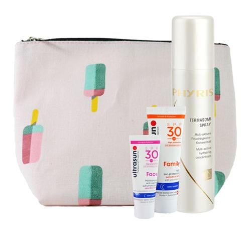 AKTIONEN  Sommer-Beauty-Tasche Sonnenschutz Sonnenschutz in Probiergrößen plus Feuchtigkeit