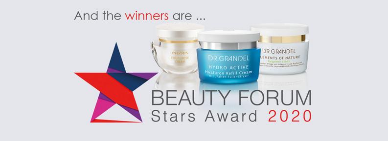 6 Auszeichnungen für DR. GRANDEL beim Beauty Forum Stars Award 2020